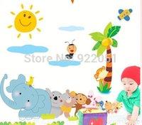 baby monkey animation - XY3003 Kids Zoo Animals Animation Decal Stickers Elephant Monkey Nursery Baby Art LM1003
