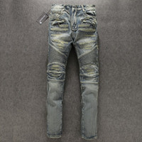 100% cotton denim jeans - Mens Balmain Blue Washed Destroyed Biker Jeans Destroyed Denim Pockets Famous BrandNew size