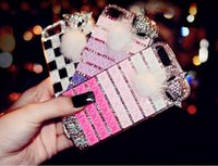 For Apple iPhone apple hair bow - Luxury Bling Crystal Rhinestone Diamond Party Fox Fur Hair Case hand made bow lips stick for iPhone plus iPhone6 quot DIY Case