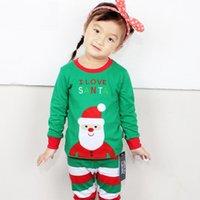 Wholesale Girl cotton Christmas clothe pants Pajamas set CHristmas Sant Tree Deer clothes set long sleeve pajamas freeshipping WG85