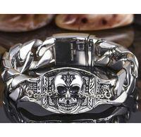 Wholesale Men Punk Harley Biker Skull Stainless Steel Bracelet
