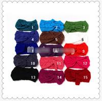 elastic crochet - 2015 Newest Baby Girls Hair Bowknot Headbands Children Elastic Crochet Knitting Headband Family Hair Accessories Colors K4180