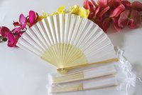 white hand fans - White Elegant Folding Silk Hand Fan with Organza Gift bag Wedding Party Favors Gift