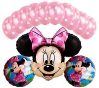 balloon color combinations - Minnie Mouse Theme Party Decoration Balloons Foil Balloon Pink Color Combination Set Birthday Gift For Girls LEZI