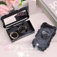 Wholesale Makeup Storage Box Cosmetic Case Holder Eyelashes Earrings Necklace Container with Mirror Retro Carved Rose Cute Mini Gift