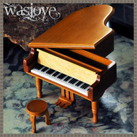 antique wooden music box - Wooden piano music box creative crafts birthday gift to send girls or boyfriend