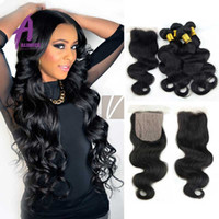 Wholesale Peruvian human Hair With Closure Grace Hair Products Peruvian Body Wave Bundles With Silk Closure Cheap Human hair body wave closure