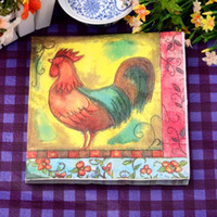 Wholesale 330MMX330Mm tissue paper napkin paper printing handkerchiefs for wedding birthday favors gift with chicken