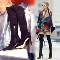 leather over knee boots - Olivia street fashion brand winter women s boots slim fit suede over the knee long boots