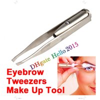 Wholesale DHL freeshipping Pinzas Cejas Make Up Led Light Eyelash Eyebrow Hair Removal Stainless Steel r