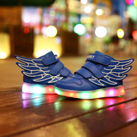 Wholesale Children Shoes With Light Up Sneakers For Kids USB Charging Sole Luminous Sneakers Led Shoes Girls Boys Light Shoes With Wings