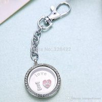 Cheap Free shipping 50pcs 30mm Silver Round magnetic glass glass locket keychains floating charm locket ZJ34