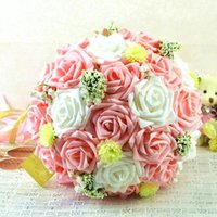 Wholesale Colorful Artificial Wedding Bouquet for Bride Hand Holding Flowers Cheap Wedding Favors Silk Rose Bridal Bouquets Vintage Style WFD71