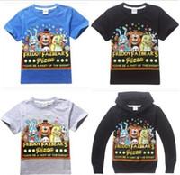 cotton night shirt - Boys Cartoon T shirts Tops Children Casual Blue Gray Black Five Nights at Freddy s Bear Short Long Sleeve Clothes EMS DHL FEDEX I4361