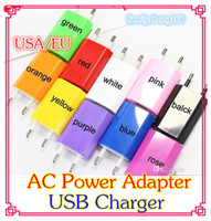Wholesale ACPower Adapter US Plug USB Wall Travel Charger US EU Adapter for I S for Samsung Galaxy Cellphones Multi color