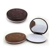 Wholesale Trendy Lovely Chocolate Cookie Shaped Mirror Makeup Make Up Mirrors With Comb Girls Women Mini Pocket Mirrors random color