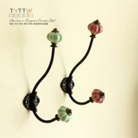 Wholesale European style Ceramic head Metal Hooks clothes hook coat and hat hook for home decoration