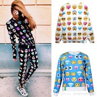 Wholesale 2015 Mens Womens Sproting Clothing Outfits EMOJI Print Funny Autumn Sweatshirt Tops D Jogger Pants S XXL