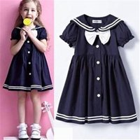 Wholesale Top quality shij018 brand vintage school uniform girls dresses age navy bow girl dress christmas baby clothing