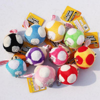 Wholesale 400pcs new sale Super Mario Bros Mushroom With Key Chain Plush Doll quot Toy colors