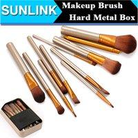 Cheap Professional 12pcs Cosmetic Facial Make UP Brush Tools Makeup Brushes Set Kit With Metal Retail Box Gold Wood Handle 100pcs lot