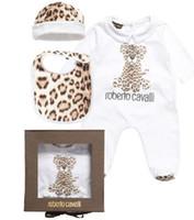 Wholesale Baby Rompers New Baby Footies Cavalli Leopard Infant One Piece Body Suit Hat Cap Feeding Bibs Newborn Jumpsuits N1548