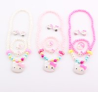 Wholesale Children Hello Kitty Jewelry Set Simulated Pearl Girl Kids Baby Hello Kitty Cat Necklace Bracelet Ring Earrings Set FEAL ZST33