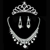 beaded heart earrings - Shining Beaded Crystal Wedding Bride Jewely Sets Bridal Crowns Necklace Earring Wedding Party Acessories Luxury In Stock SHJ