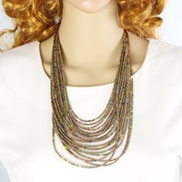bead chain necklaces designs - 2015 New Beads Necklace Tibetan Fashion Five Colors Multilayer Necklace Indian Jewelry Hot Selling Design in