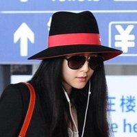 antique derby hat - Hot Selling Antique Silk ribbon Felt Wide Brim Hat Cap for Lady Korea Style BingBingFan