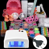 uv gel nail kit with light - Hot W White UV Lamp with Free Bulbs Gel Polish Curing Dryer Light Acrylic Nail Art Kit Set Acrylic Powder Glitter