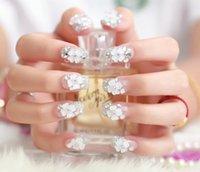 beautiful fake flowers - Beautiful Flower False Nail Tips Art crystal Transparent white Artistic Summer Style Fake Nails For Wedding