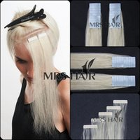 Wholesale 60 white blonde quot quot quot human hair tape in glue remy skin weft hair on double taped X men extension hot promation