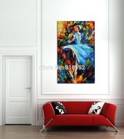ballerina art prints - Palette Knife Painting Elegant Ballerina with Rose Blue Whirling Picture Art Printed On Canvas For Home Office Hotel Wall Decor