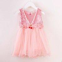 dress rosettes chiffon - NEW ARRIVAL baby girl kids sequin dress sequined tutu vest dress sparkle party ball gown princess chiffon tulle gauze ribbon rosette belt