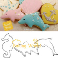 baking shark - Hippocampal Sharks Dolphins Stainless Steel Cookie Cutter Fondant Sugar Cake Molds Metal Fruit Betro Sandwich Cooking Tools Bake
