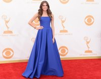 Wholesale Strapless Allison Williams Royal Blue Stain Evening Gowns For Women Cheap Red Carpet Backless Prom Dresses Long Formal Celebrity Dress
