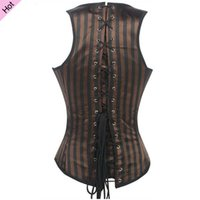 gothic wear - Ladies Sexy Underbust Corset and Bustiers Brown gothic clothing Coffe Black Stripe Body Shaper Wear Espartilho Steampunk Waist Cincher Vest