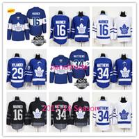 adf45deac 2017-18 Season 100th Toronto Maple Leafs 16 Mitch Marner 29 William  Nylander 34 Auston Matthews Stitched white Blue Blank Hockey Jersey ...