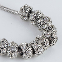 Wholesale Bulk Trendy Clear Rhinestone Spiral Tibet Silver European Big Hole Charm Beads Fit Bracelet