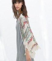 jackets - Fashion Vintage Floral Printed Tassels Shawl Cardigan Chiffon Kimono Coat Jacket H0598