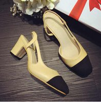 almond toe pumps - Wang fang small sweet new thick with color matching single hollow out thick with high heels double color shoes baotou for women s shoes
