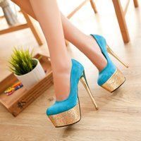 Cheap Spring 2015 Women Shoes Sexy High Heels Pumps Platform Sequined Prom stiletto heel WP-01