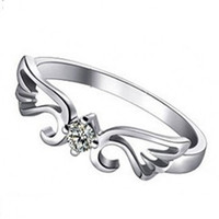 Cheap Guardian Angel Hearts And Arrows 925 Sterling Silver Rings Inlaid CZ Jewelry Wedding Rings for Women Size 4-10