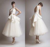 beach engagement photos - Ashi Studio Short Lace Wedding Dresses Tea Length Ruffles Backless Applique Vintage Bridal Gowns Arabic Engagement Dress Plus Size