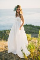 Wholesale 2015 Maternity Beach Wedding Dresses Vintage Plus Size Spaghetti Straps Beading Ivory Organza Bridal Gowns with Court Train