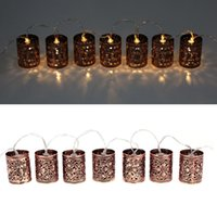 battery cages - LIXADA M LED Warm White Metal Iron Hollow Cage Lantern Fairy String Light for Party Christmas Home Room Decoration Gift L0554