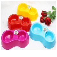 Cheap Wholesale-Dog Feeding Watering bowls double bowl automatic pet feeder water dispenser Supplies eating and drinking puppy pure color