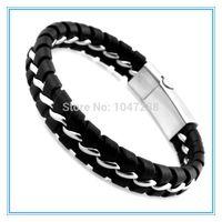 Wholesale Unique Designer L Stainless Steel Bracelets Bangles Mens Gift Black Leather Knitted Magnetic Clasp Bracelet Men Jewelry