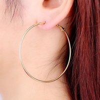 hot plate - Simple Designed Fashion Rose Gold Plated Big Hoop Earring For Women Gift Round Statement Jewelry Female Earrings Hot Sale J0015